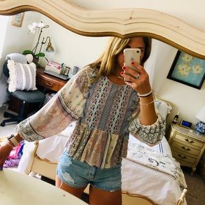 Free People Look Alike Tassel Peasant Top